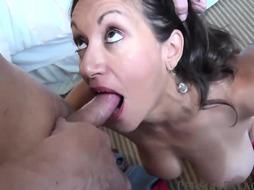 Mature black-haired in a killer, crimson dressand a fellow she luvs are about to plow