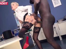 Platinum-Blonde assistant is railing a phat, dark-hued schlong after she deepthroated it in her office