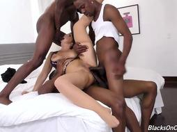 Wild damsel, Syren De Mer is gargling many dark-hued knobs in a row and getting romped fine