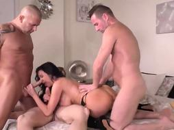 Epic, phat breasted brown-haired got down on her knees to satiate 3 folks at the same time