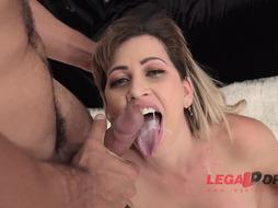 Ambitious blondie girl, Mirella Mansur got DOUBLE PENETRATION and double anal intrusion while making her first-ever porno vid
