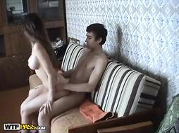 Russian teens in homemade fuck action