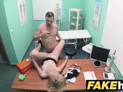 Petite blonde patient exam ends with hot wet sex