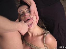 Masters cure brunette with bondage training