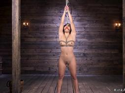 Latina slut in upside down suspension hogtie