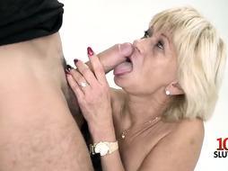 Natural tits pornstar blowjob with cum swallow